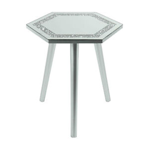 Multicrystal Glass Round Coffee Table Mirrored Side Table Living Room Furniture