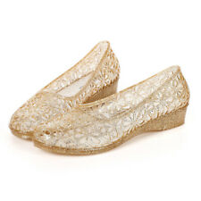 AU Womens Summer Jelly Shoes Slip On Sandals Glitter Crystal Moccasin Flats Size