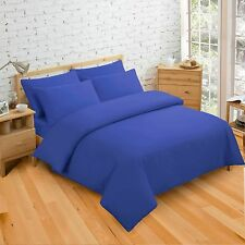 Plain Dyed Duvet Quilt Cover Bedding Sets Single Double King Black White Blue