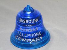 Vintage BELL Telephone Missouri Kansas Cobalt Blue Glass Paperweight #9 RARE