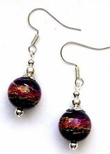 BLACK DRIZZLE GLASS&SILVER EARRINGS EXCELLENT QUALITY- WITH ORGANZA GIFT BAG