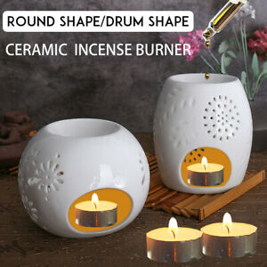 Ceramic Candle Holder White Round Oil Burner Melt Wax Warmer Diffuser  ☇