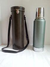 VINTAGE Aladdin Stanley Thermos Bottle A944B w/ Leather Case USA - 1qt