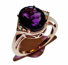 Stamped 925 Silver, Rose Gold Plate, Amethyst & Diamond Dress Ring - UK: J 1/2