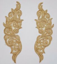 Pair Gold  Floral Embroidery Applique Motif Lace Trim --- EB0330 Haberdashery