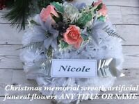 Christmas Memorial Wreath Artificial Funeral Grave Flowers ANY TITLE /NAME X33cm