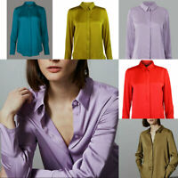 M&S Autograph Marks Spencer Hidden Button Satin Blouse Shirt Red Gold Teal Lilac