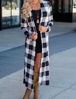 Women's Ladies Full Length Cardigan Sweater Plaid Long Sleeves Open Front Coat