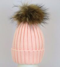 Pink Real Fur Pom Pom Hat Ladies Beanie Winter Hats Cap Raccoon Detachable Pom