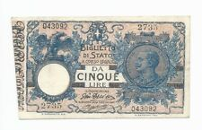 1915 Italy 5 Lire banknote P23d