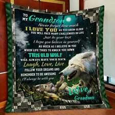 Wolf - To My Grandson I'll Always Be With You Fleece, Quilt Blanket In Usa