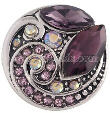 Antique Purple Opal Cluster 20mm Snap Charm For Interchangeable Ginger Snaps