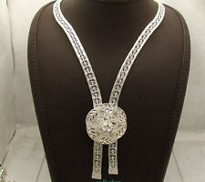 3D Adjustable Diamond Cut Floral Necklace Chain Real 925 Sterling Silver