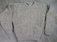 Mens CELTIC COUNTRY Sweater Irish Wool LARGE Green ARAN Crewneck Fisherman