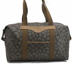 Authentic YVES SAINT LAURENT Leopard Travel Bag PVC Leather Brown White B6774