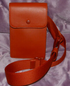 NEW COACH RED LEATHER LARGE PHONE HOLDER CROSSBODY W/ ADJ STRAP SNAP CLOSURE