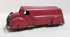 Awesome Rare Pressed Steel Red Delivery Truck Toy - Wyandotte 1930s