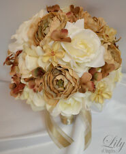 17pcs Wedding Bridal Bouquet Set Decoration Package Silk Flowers CHAMPAGNE CREAM