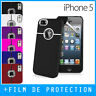 Coque Housse Case Rigide iPhone 5S / SE / Chrome Ring Silver Line -Film Offert