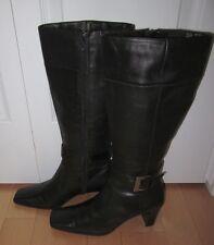 Nine & Co Womens Black Leather Fashion Boots GoWest 7.5 *Sharp*