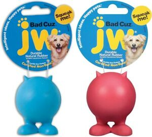 JW BAD CUZ Dog & Puppy Chew & Squeak Toy, Small, Assorted colors (2 PACK)