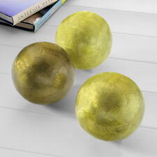 Set of 3 High Gloss Green Ornamental Ball Ornaments 10 cm diameter each