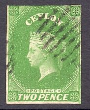 CEYLON 1857-59 2d yellowish-green wmk Star imperf U, SG 3a cat £90