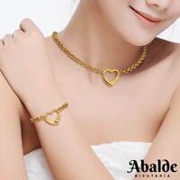 Set /  Collar y Pulsera Para Mujer Novia En Plata Oro Corazón Amor Regalo ideal