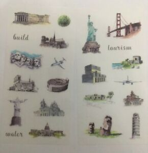 6 Pages World Travel Paper Stickers Deco Set Scrapbooking Card Diary Art