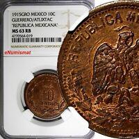 Mexico-Revolutionary GUERRERO 1915 GRO 10 Centavos Atlixtac NGC MS63 RB KM# 646