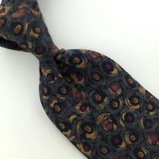 VINTAGE METROPOLITAN ITALY Made ABSTRACT NARROW Gold Gray Short Necktie I1-692