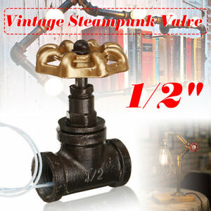 Vintage Steampunk 1/2'' Stop Valve Light Switch Gold Handle With Wire Black