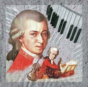 2 pcs Single Paper Napkins For Decoupage Craft Mozart