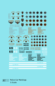 K4 S 1:64 Decals Police Car Markings Gold, Silver Black and White