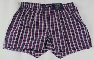 Ralph Lauren Classic Fit Purple Blue Plaid Boxer Shorts Navy Pony NWT