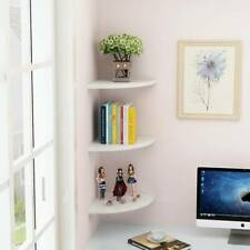 Pack of 3 Floating White Corner Shelf Shelves Wooden Wall Storage Unit Bedroom