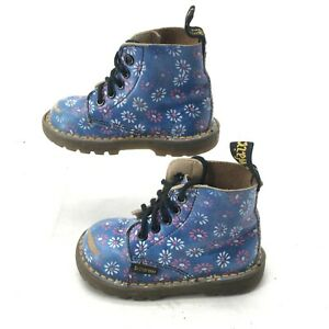 Doc Dr Martens AirWair Floral Casual Boots Child 8 Mid Calf Lace Up Leather Blue