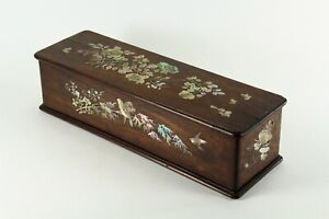 = Antique 1900's Vietnamese Wooden Box w. Mother of Pearl Inlay Hanoi Indochina