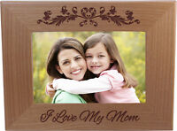 I Love My Mom 4-inch x 6-Inch Wood Picture Frame