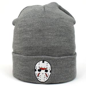 Jason Embroidery Mask Cuffed Beanie Skully Men Women New Knit Hat Winter Cap