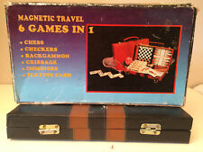 Magnetic Travel 6 Games in 1 Chess Checkers Backgammon Cribbage Dominoes      JP