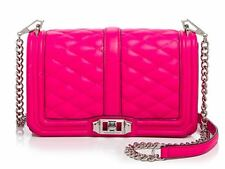 NWT $295 Rebecca Minkoff Quilted Love Crossbody Bag! Flamingo