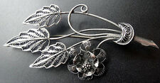 vintage art deco STERLING SILVER filigree layered daisy flower brooch c pin N192