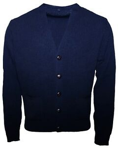 Men's Navy Blue Waffle Knitted Football Button Front Mod Retro Relco Cardigan