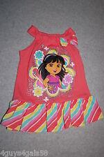 Toddler Baby Girls DORA & FRIENDS Summer Dress CORAL ORANGE Striped Ruffle 24 MO