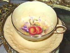 PARAGON Coffee Cup and Saucer FRUIT HAND PAINTED PEACH Raised Fruit Exterior