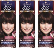 3x Schwarzkopf Poly Color Creme Haarfarbe 44 Schokobraun