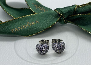Pandora in my heart pave earring studs cz #290541 Authentic Ale Rare RETIRED