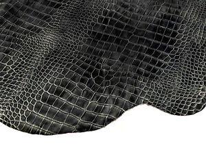 Black Semi Gloss Crocodile Leather Cow Hide Accessory Bag Craft Avg 14 SqFt