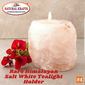 Salt Himalayan Natural Mineral Candle Tealight Holder Rare Pearl White Gift